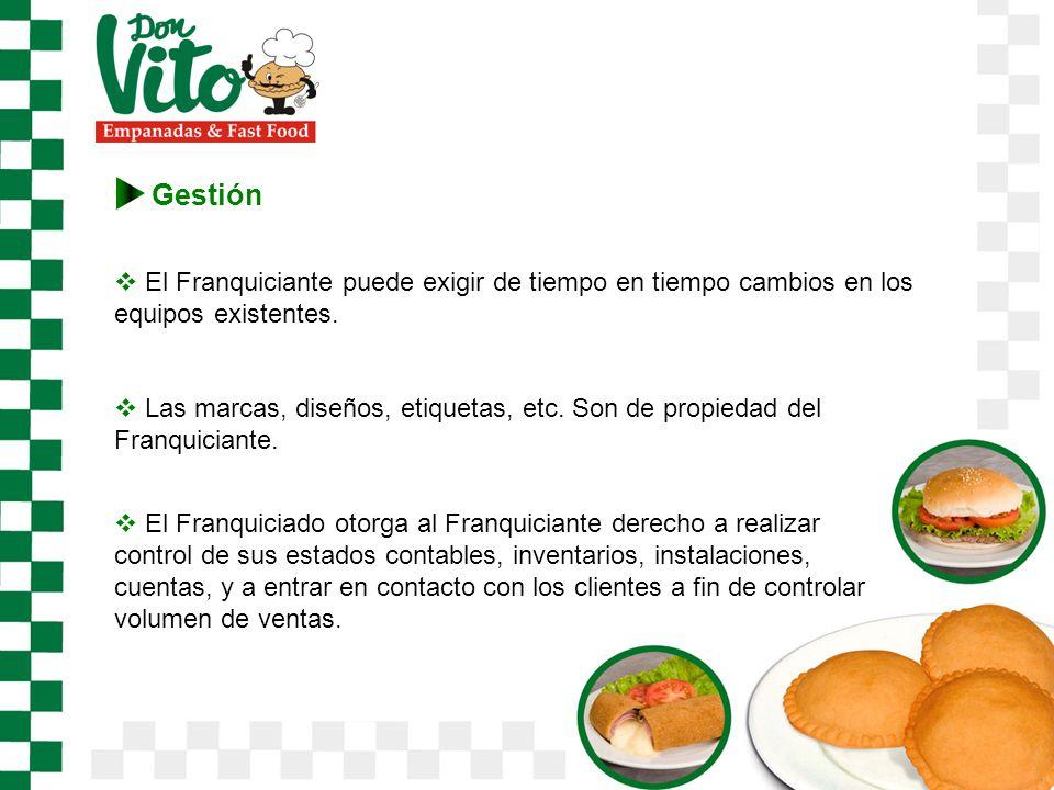Gestión El Franquiciante puede exigir de tiempo en tiempo cambios en los equipos existentes.