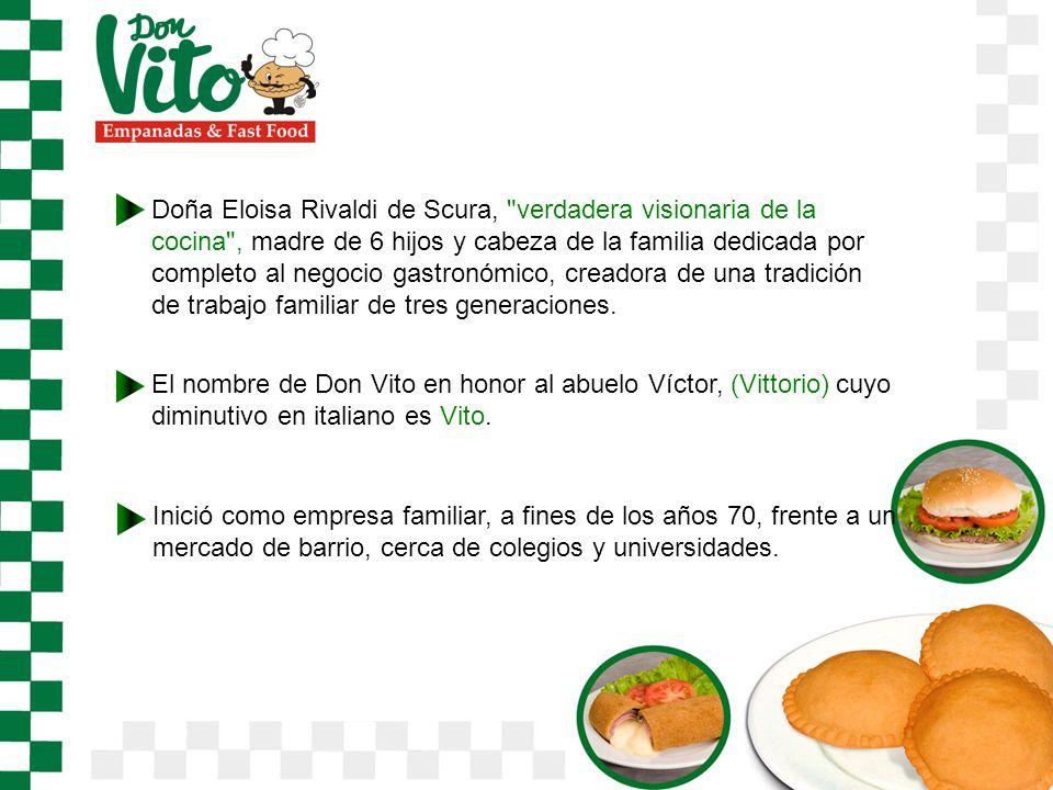 Doña Eloisa Rivaldi de Scura, verdadera visionaria de la cocina , madre de 6 hijos y cabeza de la familia dedicada por completo al negocio gastronómico, creadora de una tradición de trabajo familiar de tres generaciones.