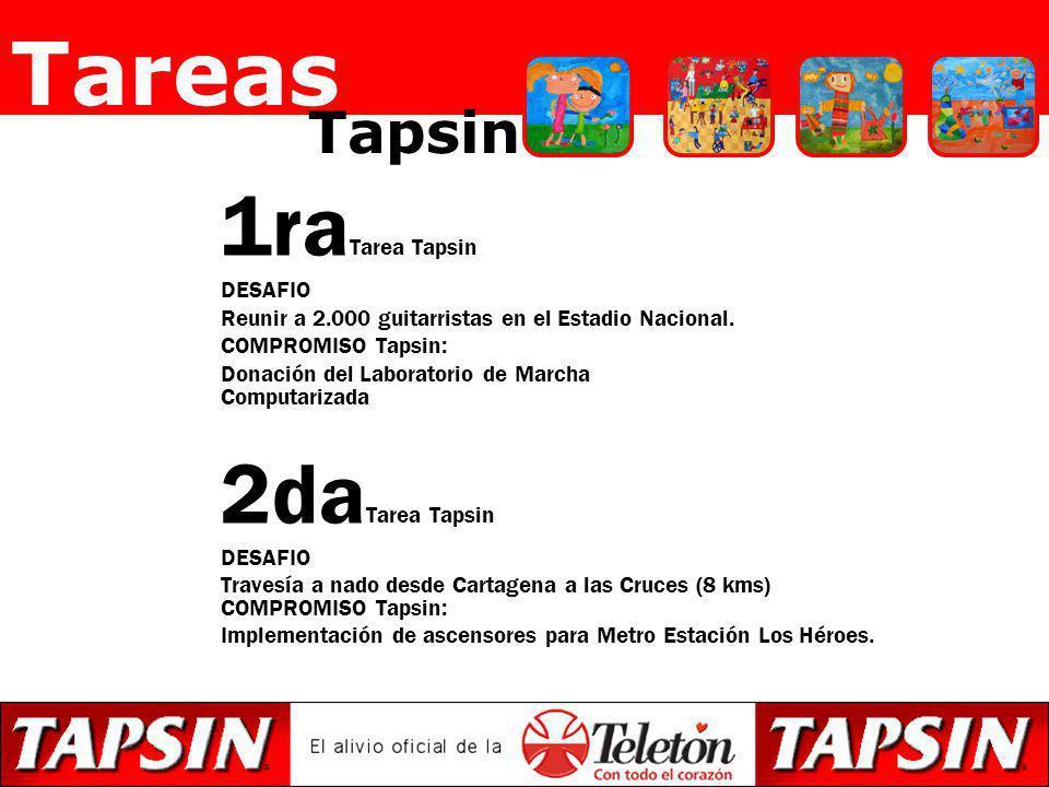 1ra Tarea Tapsin DESAFIO Reunir a 2.000 guitarristas en el Estadio Nacional. COMPROMISO Tapsin: Donación del Laboratorio de Marcha Computarizada 2da T