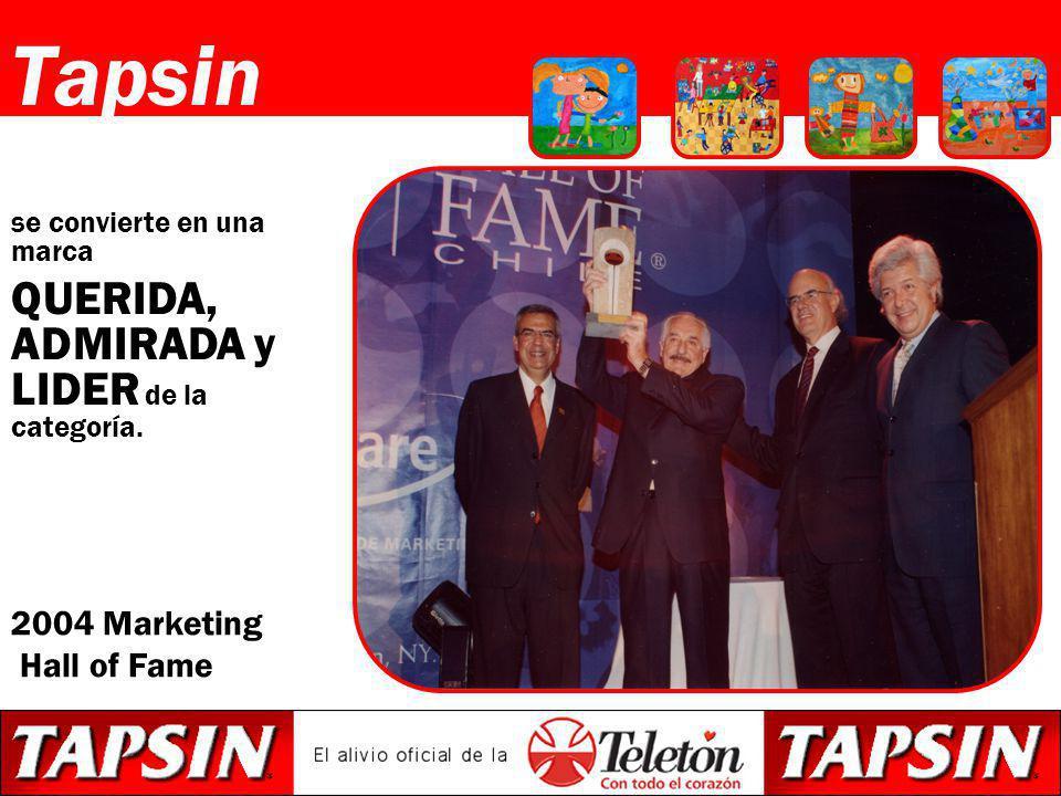 Tapsin se convierte en una marca QUERIDA, ADMIRADA y LIDER de la categoría. 2004 Marketing Hall of Fame