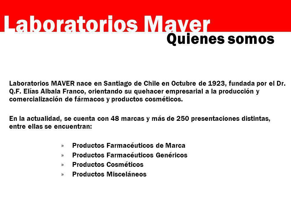 Laboratorios Maver Laboratorios MAVER nace en Santiago de Chile en Octubre de 1923, fundada por el Dr. Q.F. Elías Albala Franco, orientando su quehace