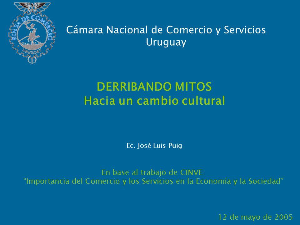 DERRIBANDO MITOS Hacia un cambio cultural En base al trabajo de CINVE: Importancia del Comercio y los Servicios en la Economía y la Sociedad 12 de mayo de 2005 Cámara Nacional de Comercio y Servicios Uruguay Ec.