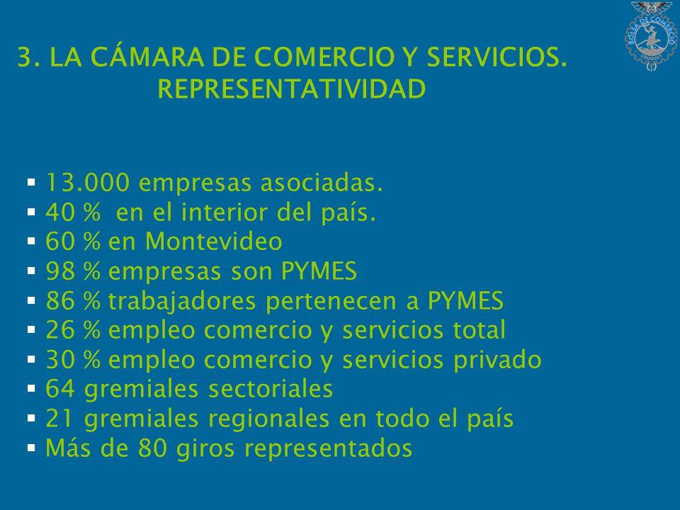 3. LA CÁMARA DE COMERCIO Y SERVICIOS. REPRESENTATIVIDAD 13.000 empresas asociadas.