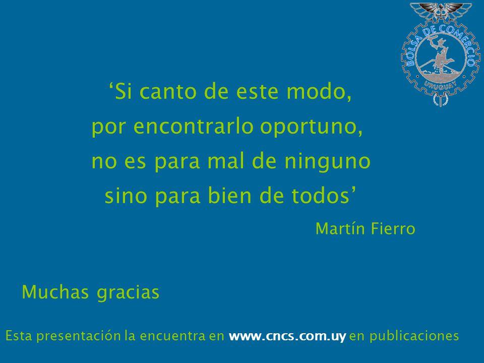 Muchas gracias Esta presentación la encuentra en www.cncs.com.uy en publicaciones Si canto de este modo, por encontrarlo oportuno, no es para mal de ninguno sino para bien de todos Martín Fierro