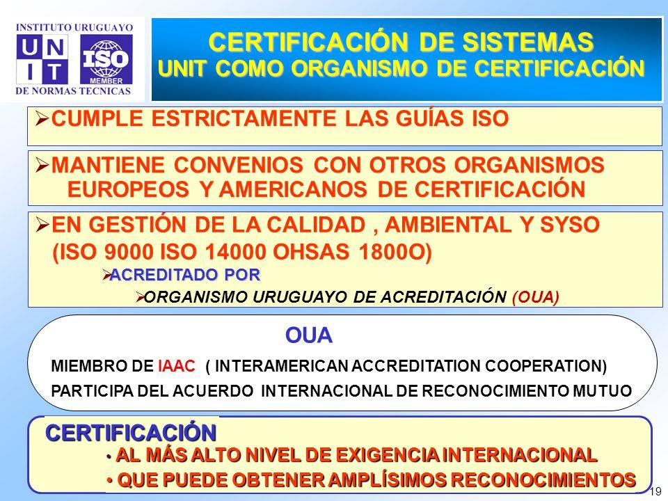 19 CUMPLE ESTRICTAMENTE LAS GUÍAS ISO CERTIFICACIÓN DE SISTEMAS UNIT COMO ORGANISMO DE CERTIFICACIÓN EN GESTIÓN DE LA CALIDAD, AMBIENTAL Y SYSO (ISO 9
