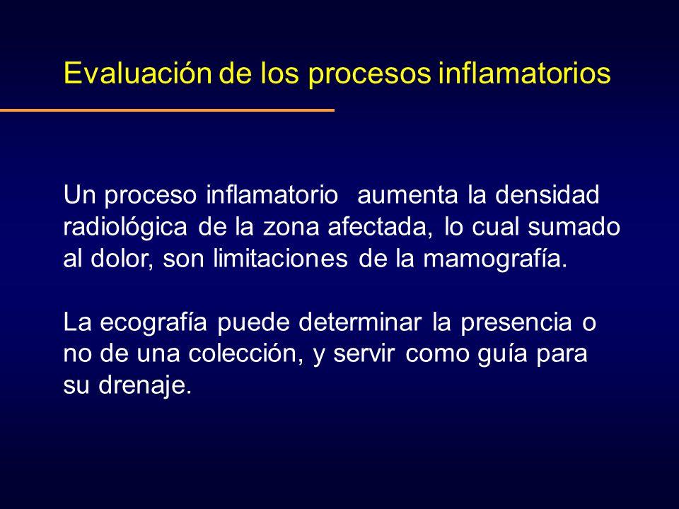 Evaluación de los procesos inflamatorios Un proceso inflamatorio aumenta la densidad radiológica de la zona afectada, lo cual sumado al dolor, son lim