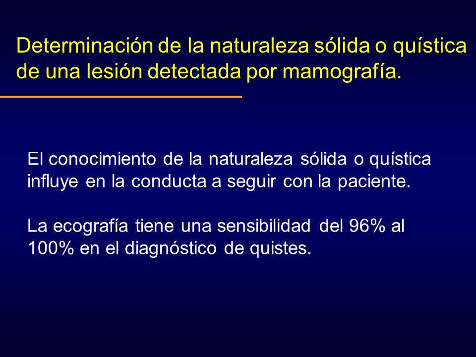 Determinación de la naturaleza sólida o quística de una lesión detectada por mamografía. El conocimiento de la naturaleza sólida o quística influye en