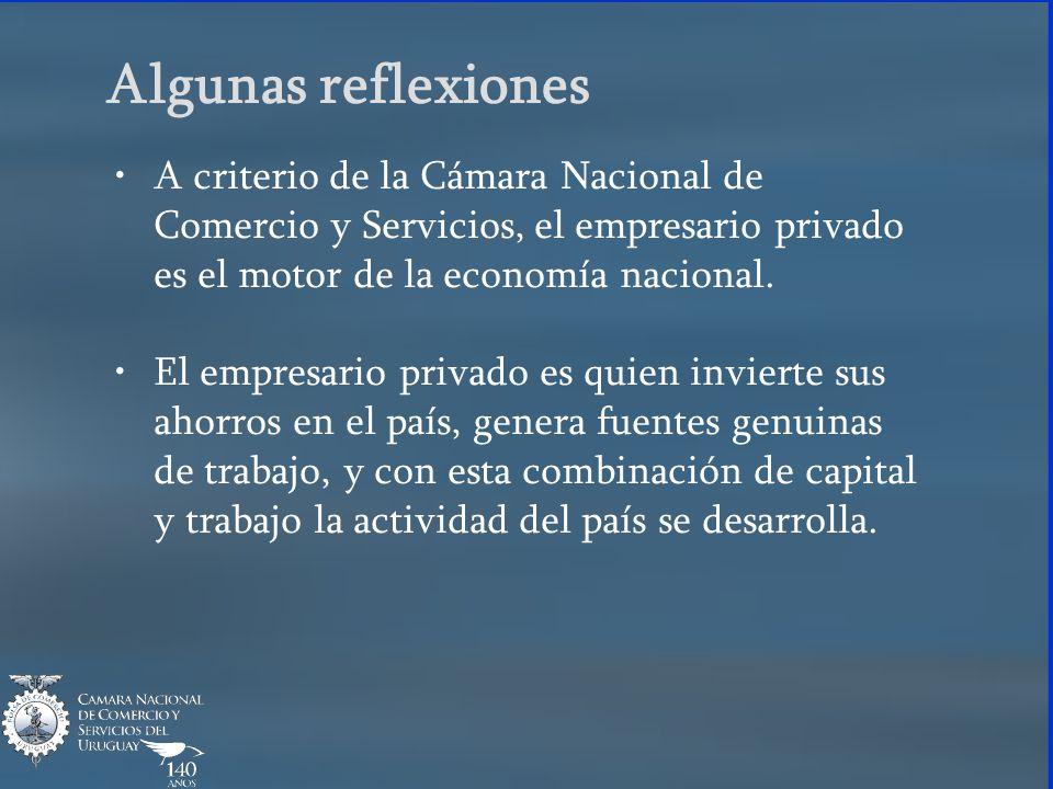 Algunas reflexiones A criterio de la Cámara Nacional de Comercio y Servicios, el empresario privado es el motor de la economía nacional. El empresario