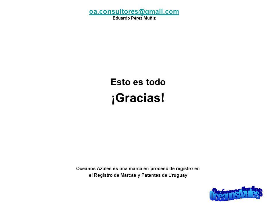 Esto es todo ¡Gracias! Océanos Azules es una marca en proceso de registro en el Registro de Marcas y Patentes de Uruguay oa.consultores@gmail.com Edua