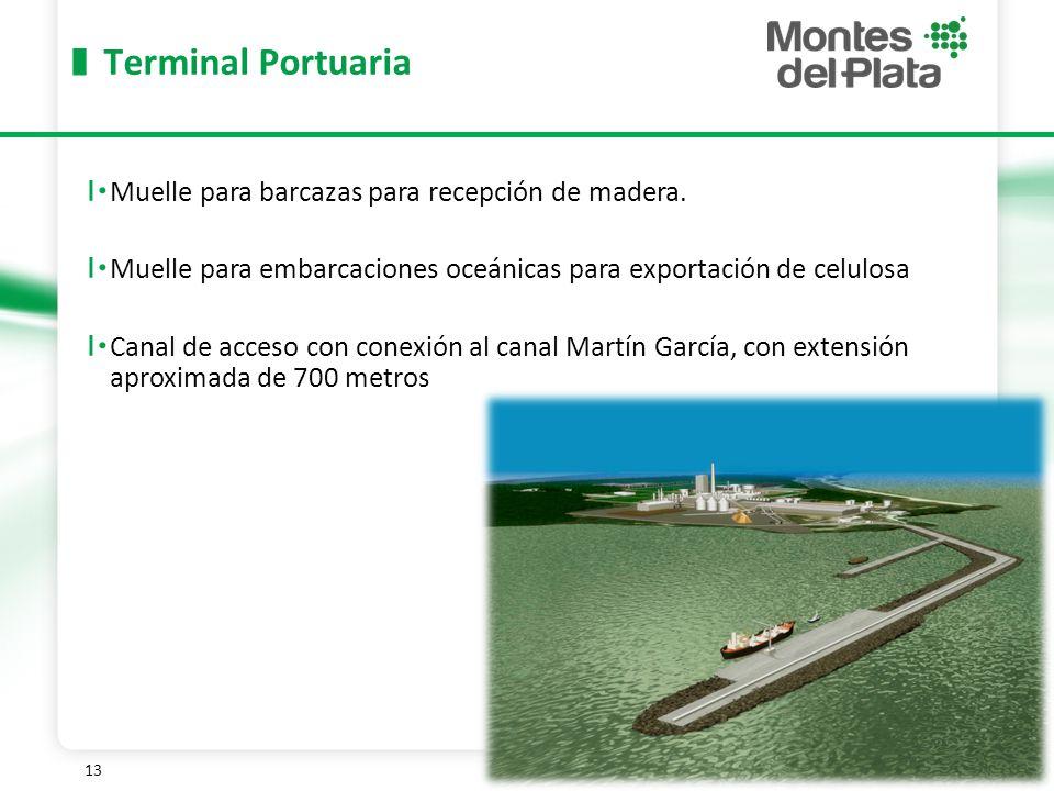 13 Terminal Portuaria Muelle para barcazas para recepción de madera.