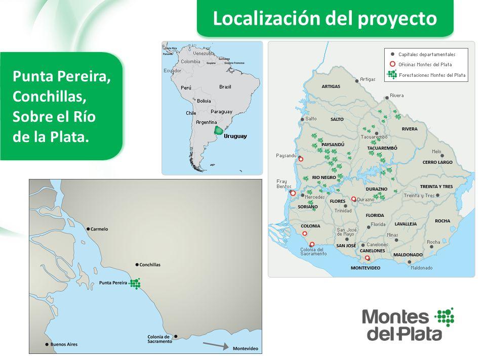 Localización del proyecto Punta Pereira, Conchillas, Sobre el Río de la Plata.