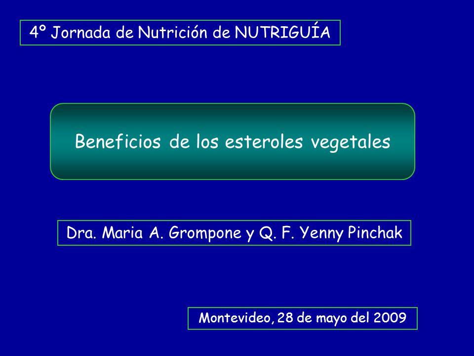Beneficios de los esteroles vegetales 4º Jornada de Nutrición de NUTRIGUÍA Montevideo, 28 de mayo del 2009 Dra. Maria A. Grompone y Q. F. Yenny Pincha