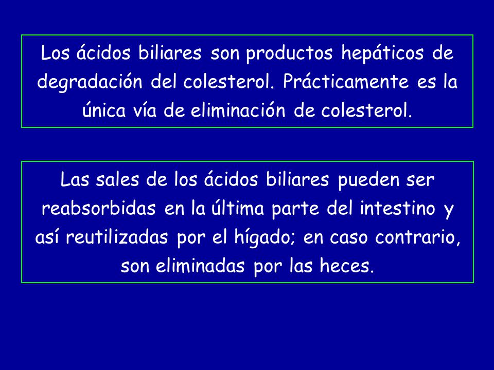 Los ácidos biliares son productos hepáticos de degradación del colesterol. Prácticamente es la única vía de eliminación de colesterol. Las sales de lo