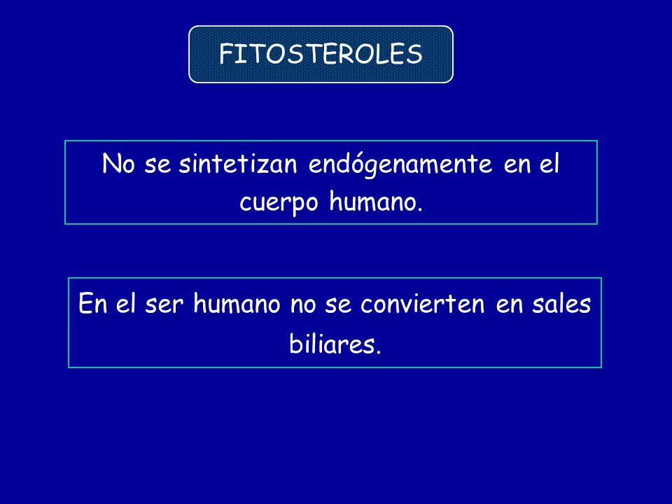 En el ser humano no se convierten en sales biliares. FITOSTEROLES No se sintetizan endógenamente en el cuerpo humano.