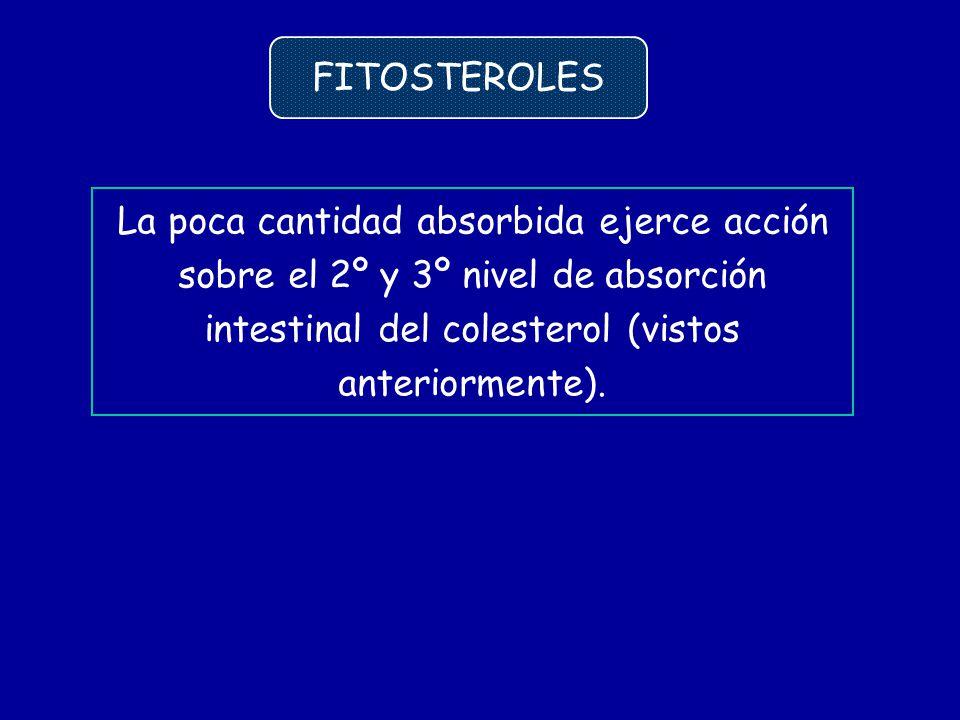 La poca cantidad absorbida ejerce acción sobre el 2º y 3º nivel de absorción intestinal del colesterol (vistos anteriormente). FITOSTEROLES