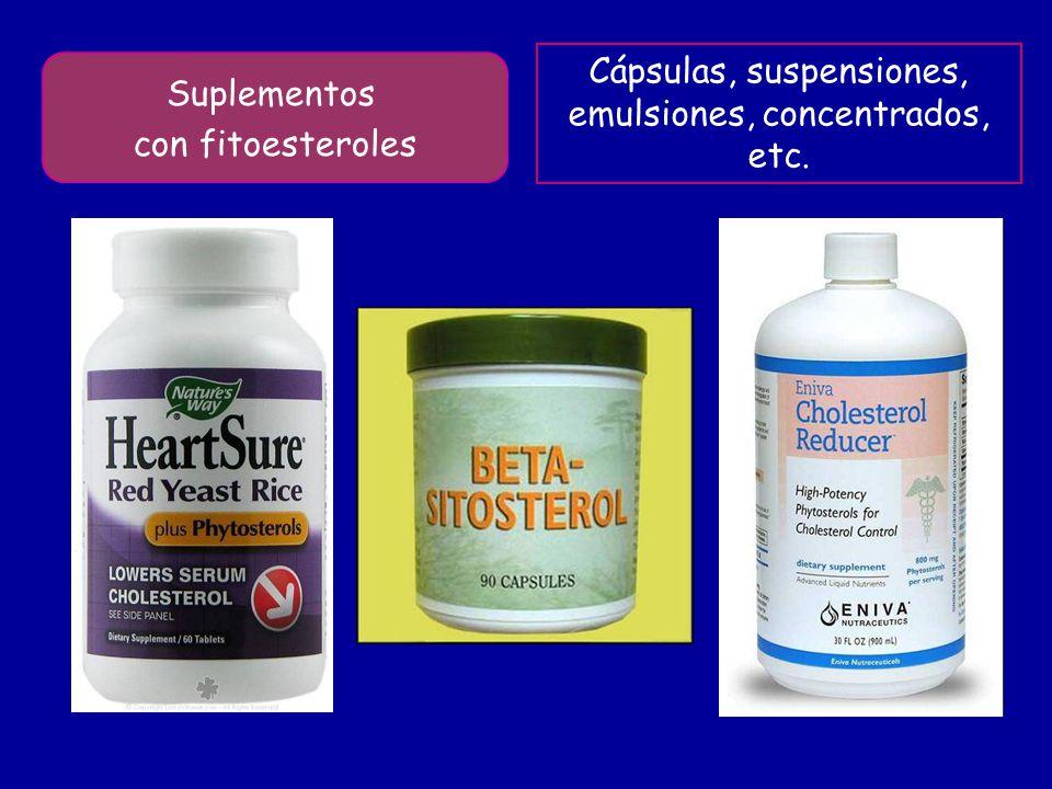 Suplementos con fitoesteroles Cápsulas, suspensiones, emulsiones, concentrados, etc.