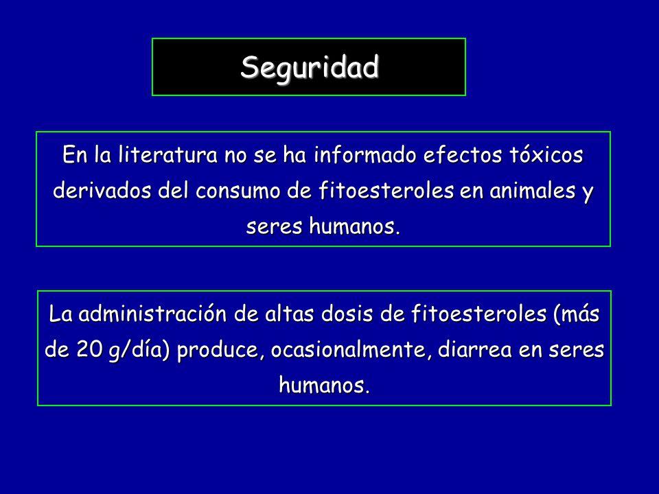 Seguridad En la literatura no se ha informado efectos tóxicos derivados del consumo de fitoesteroles en animales y seres humanos. La administración de