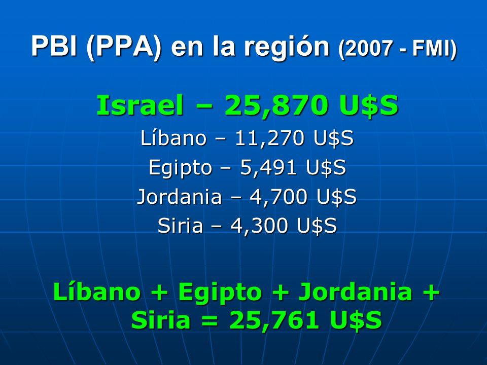 PBI (PPA) en la región (2007 - FMI) Israel – 25,870 U$S Líbano – 11,270 U$S Egipto – 5,491 U$S Jordania – 4,700 U$S Siria – 4,300 U$S Líbano + Egipto + Jordania + Siria = 25,761 U$S