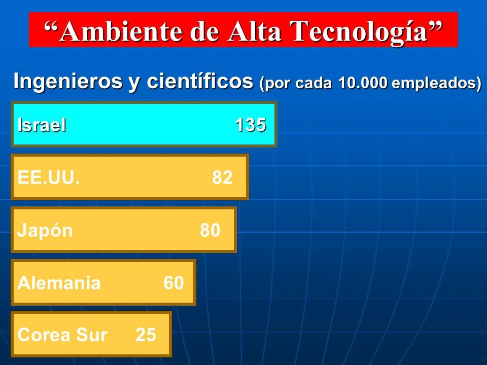 EE.UU. 82 Israel 135 Japón 80 Corea Sur 25 Ingenieros y científicos (por cada 10.000 empleados) Alemania 60 Ambiente de Alta Tecnología