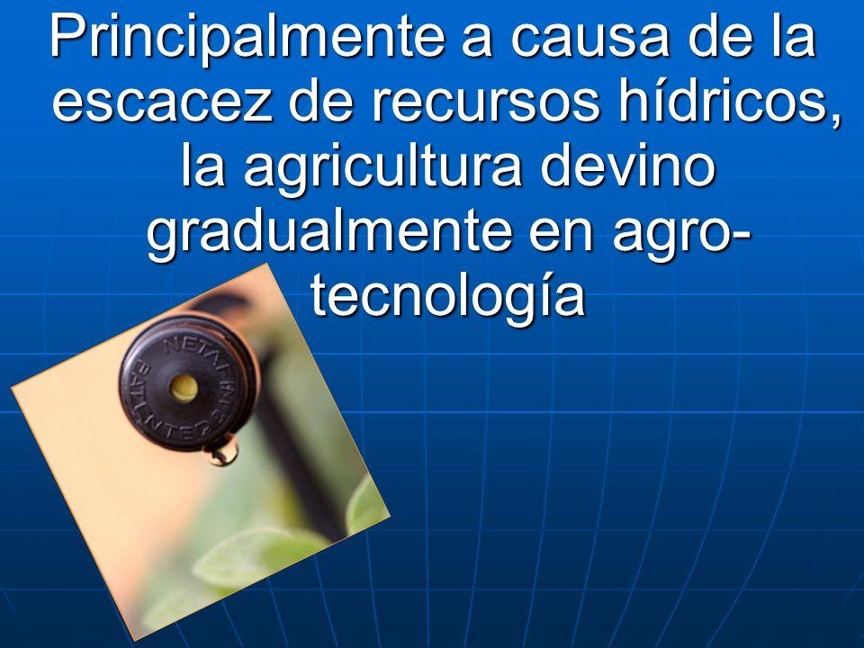 Principalmente a causa de la escacez de recursos hídricos, la agricultura devino gradualmente en agro- tecnología