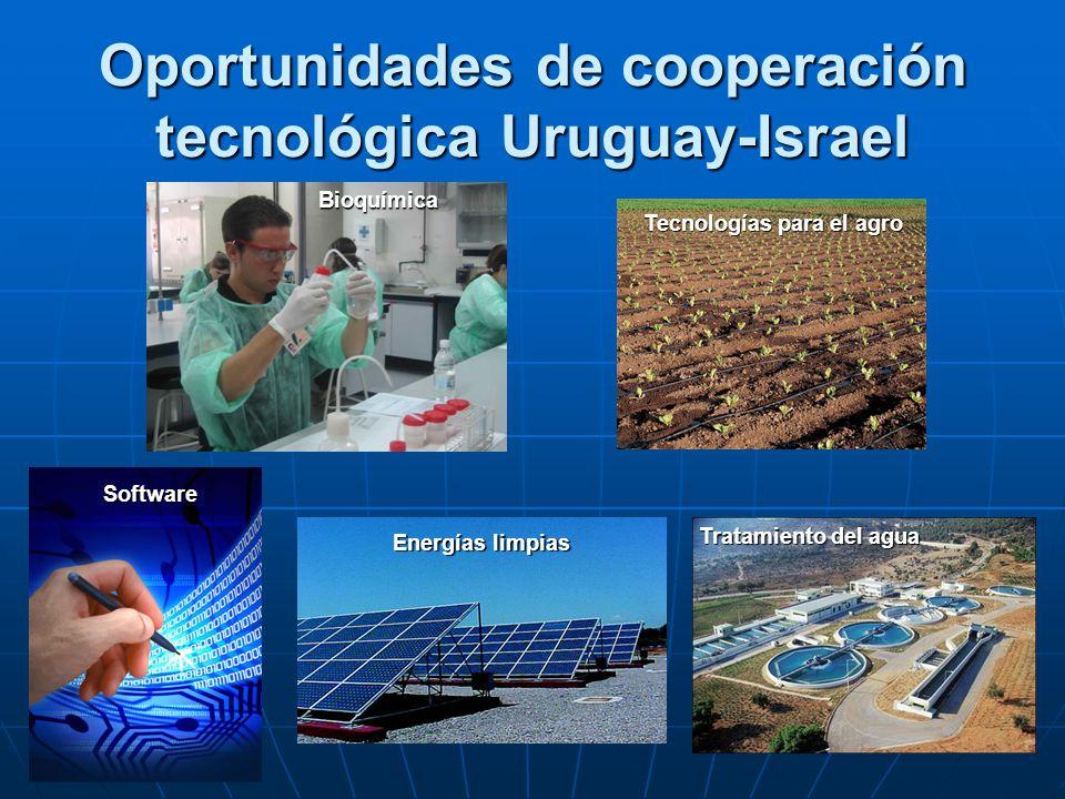 Oportunidades de cooperación tecnológica Uruguay-Israel Energías limpias Tecnologías para el agro Software Bioquímica Tratamiento del agua