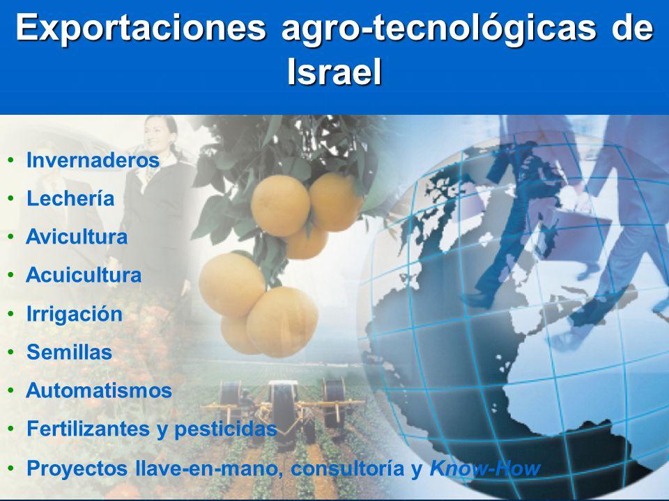 Exportaciones agro-tecnológicas de Israel Invernaderos Lechería Avicultura Acuicultura Irrigación Semillas Automatismos Fertilizantes y pesticidas Pro
