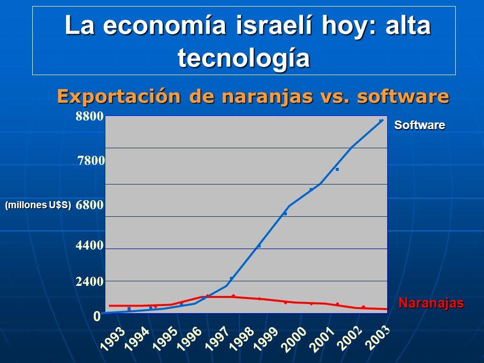 0 2400 6800 8800 199319941995199619971998199920002001 2002 2003 7800 4400 Software Naranajas La economía israelí hoy: alta tecnología La economía isra
