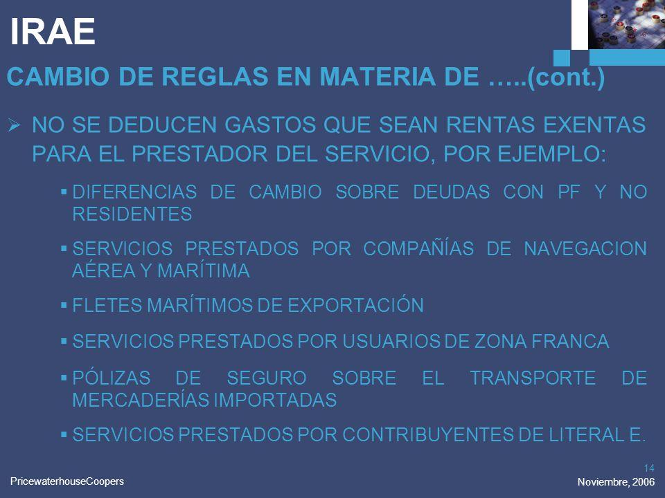 PricewaterhouseCoopers Noviembre, 2006 14 IRAE CAMBIO DE REGLAS EN MATERIA DE …..(cont.) NO SE DEDUCEN GASTOS QUE SEAN RENTAS EXENTAS PARA EL PRESTADO