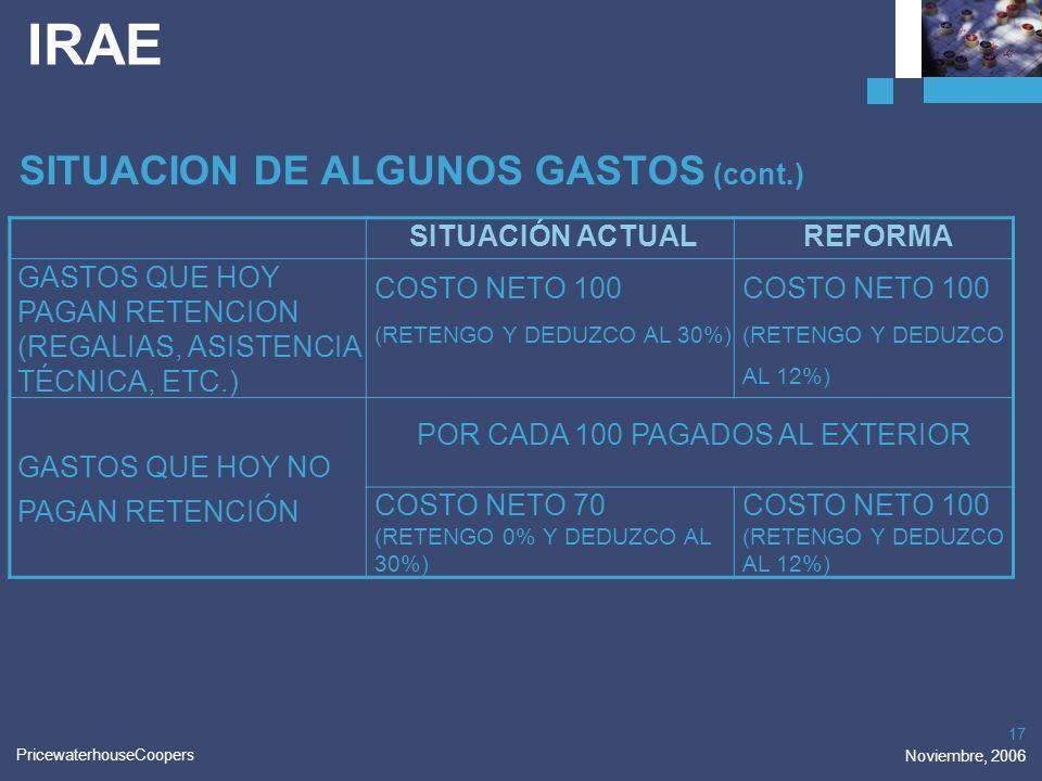 PricewaterhouseCoopers Noviembre, 2006 17 IRAE SITUACION DE ALGUNOS GASTOS (cont.) SITUACIÓN ACTUALREFORMA GASTOS QUE HOY PAGAN RETENCION (REGALIAS, A