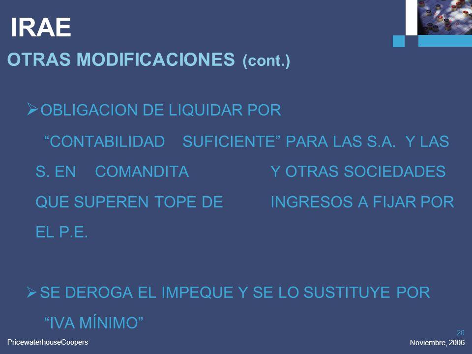 PricewaterhouseCoopers Noviembre, 2006 20 IRAE OTRAS MODIFICACIONES (cont.) OBLIGACION DE LIQUIDAR POR CONTABILIDAD SUFICIENTE PARA LAS S.A. Y LAS S.