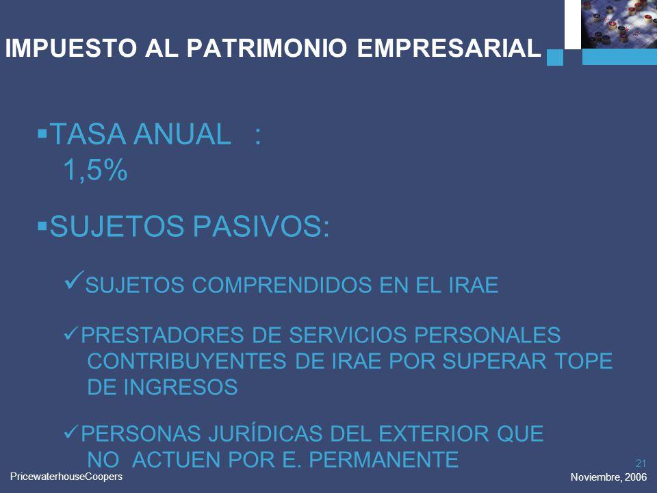 PricewaterhouseCoopers Noviembre, 2006 21 IMPUESTO AL PATRIMONIO EMPRESARIAL TASA ANUAL: 1,5% SUJETOS PASIVOS: SUJETOS COMPRENDIDOS EN EL IRAE PRESTAD