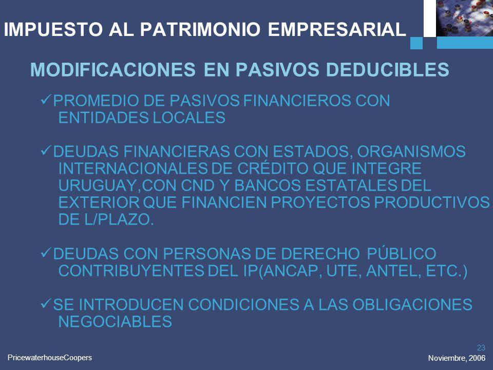 PricewaterhouseCoopers Noviembre, 2006 23 IMPUESTO AL PATRIMONIO EMPRESARIAL MODIFICACIONES EN PASIVOS DEDUCIBLES PROMEDIO DE PASIVOS FINANCIEROS CON