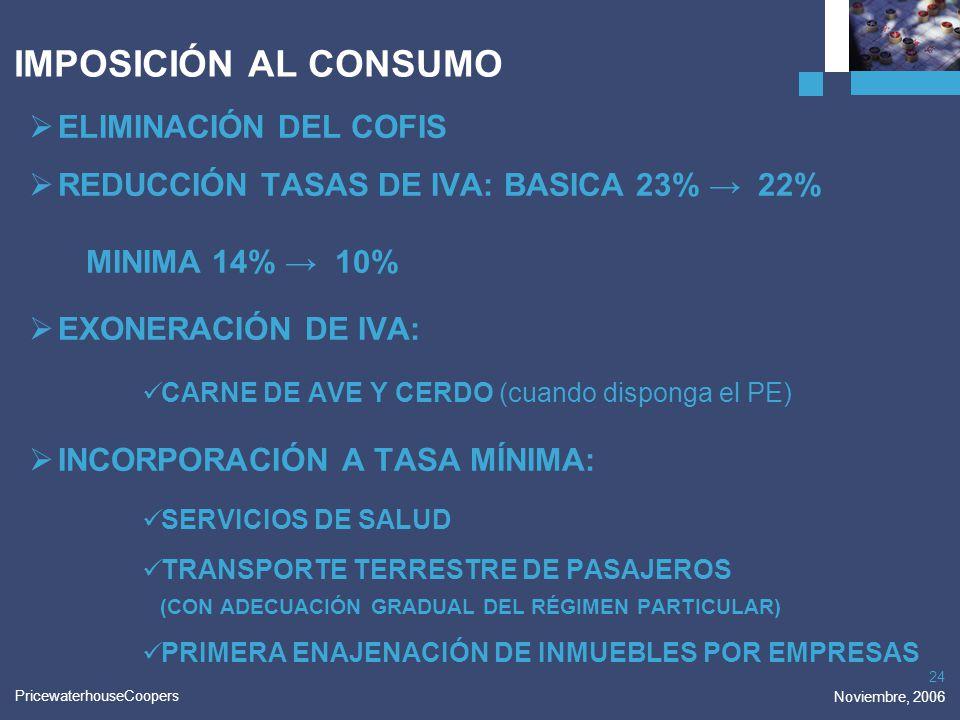 PricewaterhouseCoopers Noviembre, 2006 24 IMPOSICIÓN AL CONSUMO ELIMINACIÓN DEL COFIS REDUCCIÓN TASAS DE IVA: BASICA 23% 22% MINIMA 14% 10% EXONERACIÓ