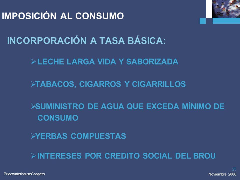 PricewaterhouseCoopers Noviembre, 2006 25 IMPOSICIÓN AL CONSUMO INCORPORACIÓN A TASA BÁSICA: LECHE LARGA VIDA Y SABORIZADA TABACOS, CIGARROS Y CIGARRI