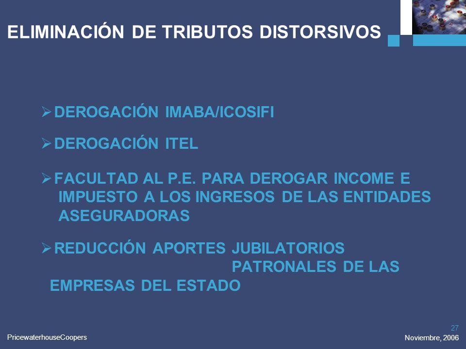 PricewaterhouseCoopers Noviembre, 2006 27 DEROGACIÓN IMABA/ICOSIFI DEROGACIÓN ITEL FACULTAD AL P.E. PARA DEROGAR INCOME E IMPUESTO A LOS INGRESOS DE L