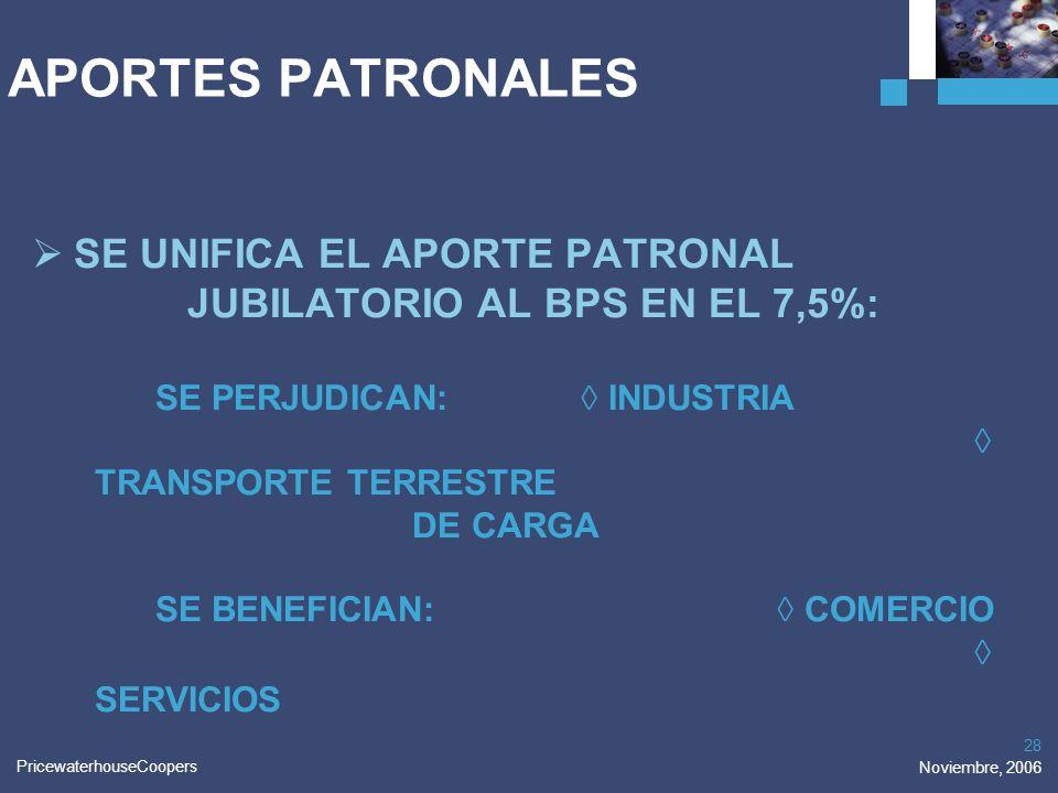 PricewaterhouseCoopers Noviembre, 2006 28 APORTES PATRONALES SE UNIFICA EL APORTE PATRONAL JUBILATORIO AL BPS EN EL 7,5%: SE PERJUDICAN: INDUSTRIA TRA