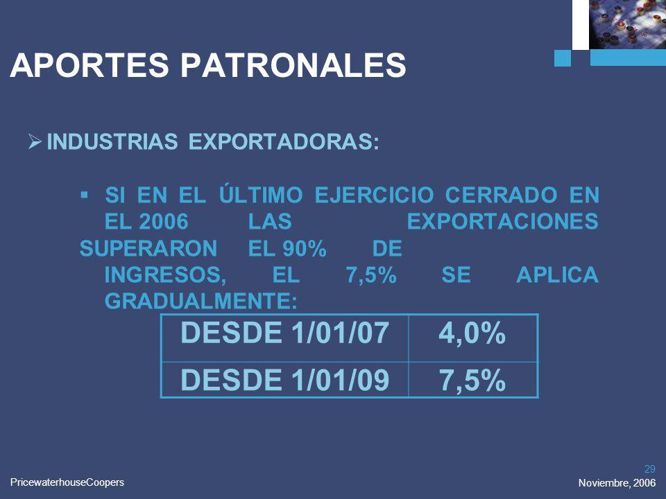 PricewaterhouseCoopers Noviembre, 2006 29 APORTES PATRONALES INDUSTRIAS EXPORTADORAS: SI EN EL ÚLTIMO EJERCICIO CERRADO EN EL 2006 LAS EXPORTACIONES S