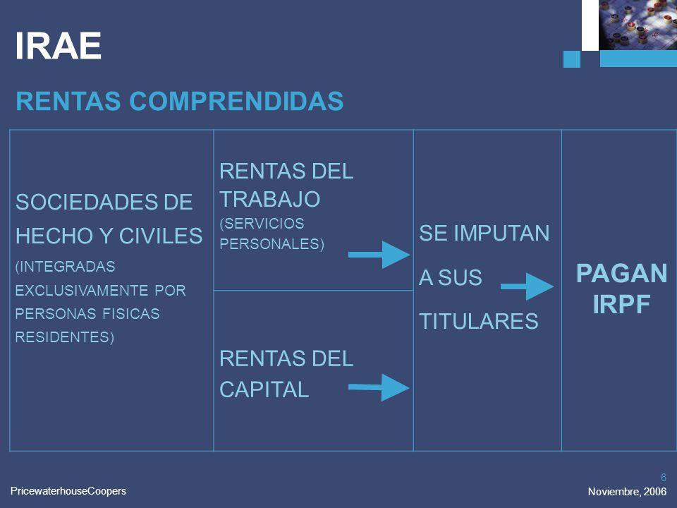 PricewaterhouseCoopers Noviembre, 2006 6 IRAE RENTAS COMPRENDIDAS SOCIEDADES DE HECHO Y CIVILES (INTEGRADAS EXCLUSIVAMENTE POR PERSONAS FISICAS RESIDE