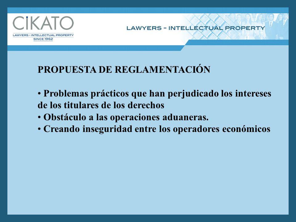 PROPUESTA DE REGLAMENTACIÓN Problemas prácticos que han perjudicado los intereses de los titulares de los derechos Obstáculo a las operaciones aduaneras.
