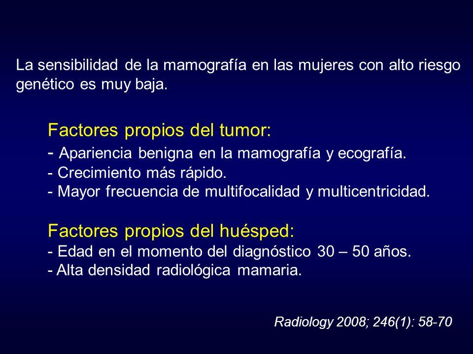 La sensibilidad de la mamografía en las mujeres con alto riesgo genético es muy baja. Factores propios del tumor: - Apariencia benigna en la mamografí