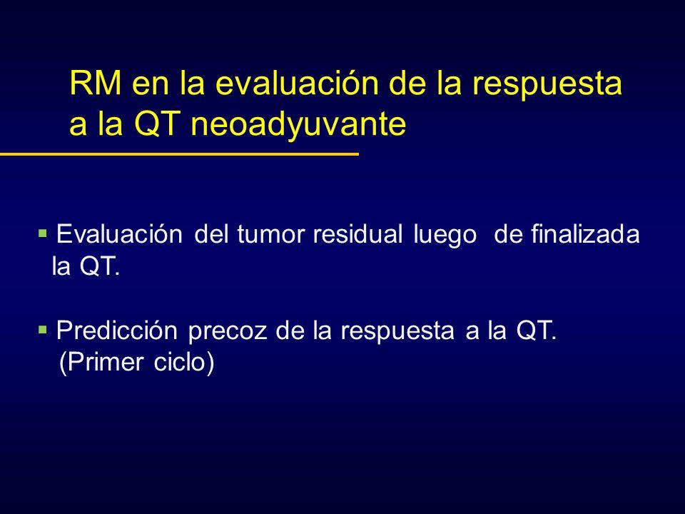RM en la evaluación de la respuesta a la QT neoadyuvante Evaluación del tumor residual luego de finalizada la QT. Predicción precoz de la respuesta a
