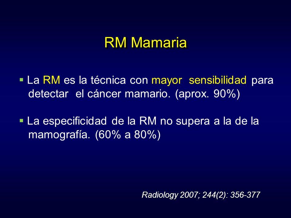 RM Mamaria La RM es la técnica con mayor sensibilidad para detectar el cáncer mamario. (aprox. 90%) La especificidad de la RM no supera a la de la mam