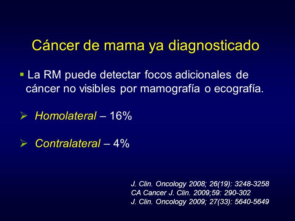 Cáncer de mama ya diagnosticado La RM puede detectar focos adicionales de cáncer no visibles por mamografía o ecografía. Homolateral – 16% Contralater
