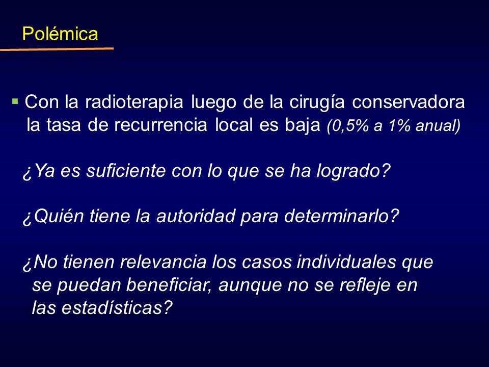 Con la radioterapia luego de la cirugía conservadora la tasa de recurrencia local es baja (0,5% a 1% anual) ¿Ya es suficiente con lo que se ha logrado