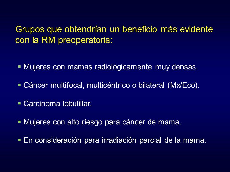 Grupos que obtendrían un beneficio más evidente con la RM preoperatoria: Mujeres con mamas radiológicamente muy densas. Cáncer multifocal, multicéntri