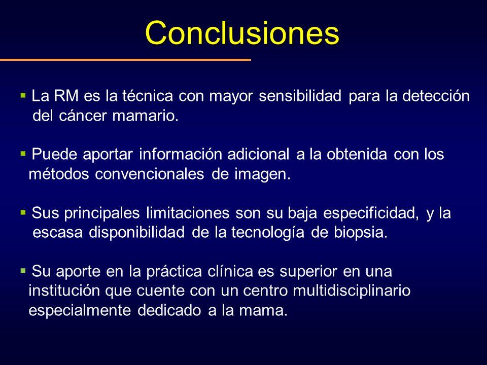 Conclusiones La RM es la técnica con mayor sensibilidad para la detección del cáncer mamario. Puede aportar información adicional a la obtenida con lo