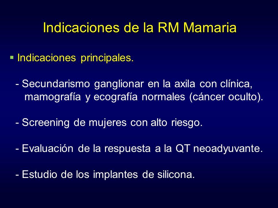 Indicaciones de la RM Mamaria Indicaciones principales. - Secundarismo ganglionar en la axila con clínica, mamografía y ecografía normales (cáncer ocu
