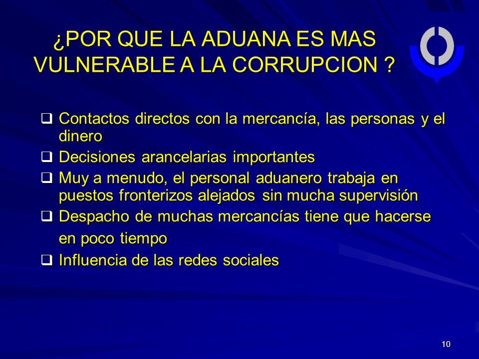 10 ¿POR QUE LA ADUANA ES MAS VULNERABLE A LA CORRUPCION .