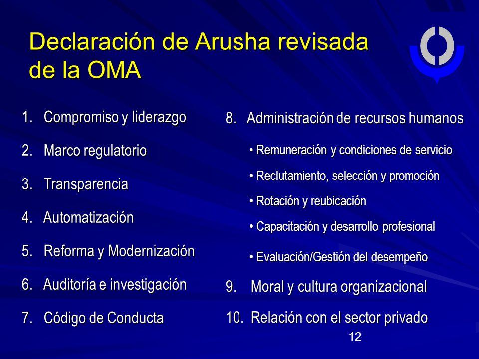 12 Declaración de Arusha revisada de la OMA 8.