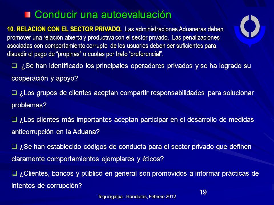 Conducir una autoevaluación 10.RELACION CON EL SECTOR PRIVADO.